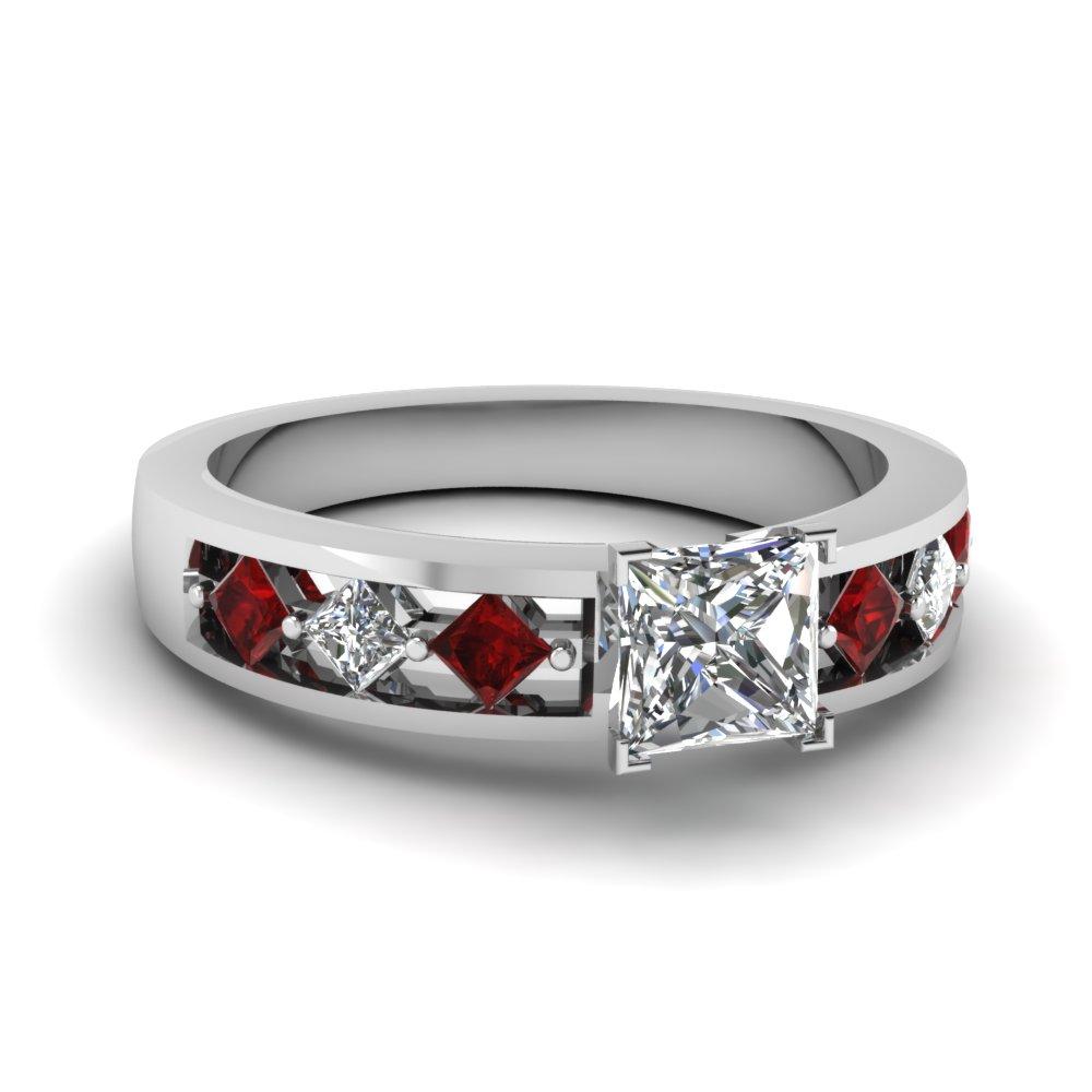 Genuine Diamond Ruby Engagement Ring