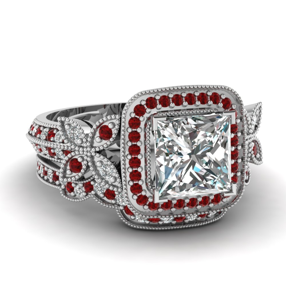 Ruby Ring Princess Cut Ruby Ring With Diamonds