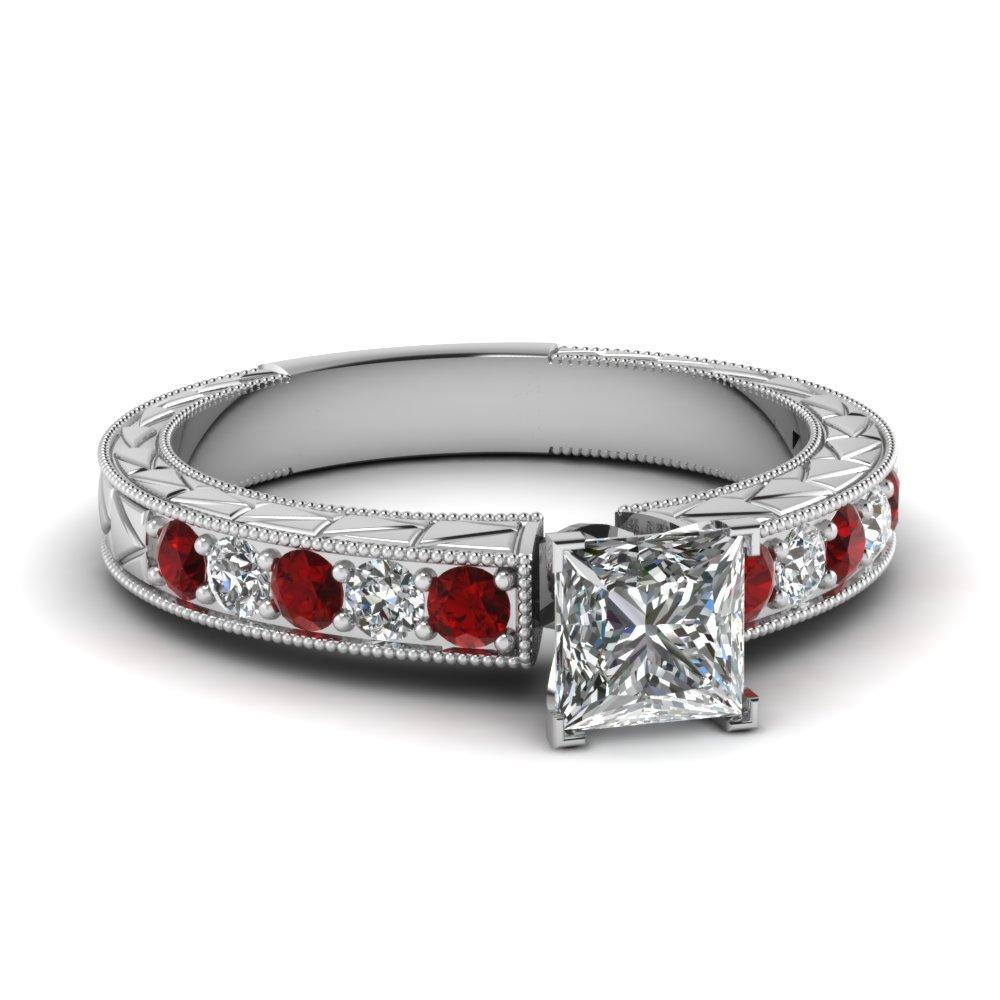 Princess Cut Milgrain Vintage Diamond Rings