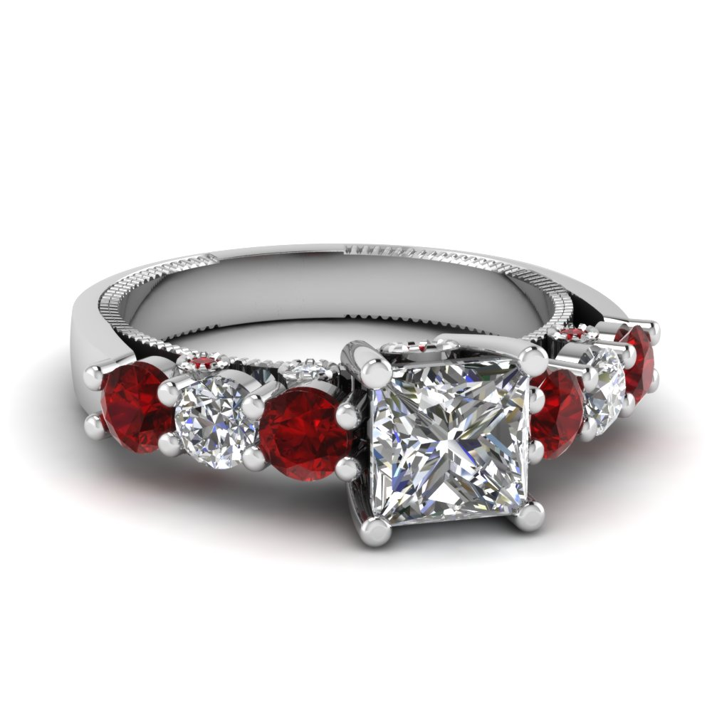 white-gold-princess-white-diamond-engagement-wedding-ring-with-red-ruby-in-prong-bezel-set-FDENR6770PRRGRUDR-NL-WG