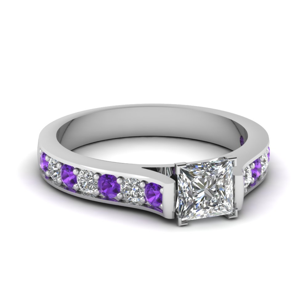 Pave Set Purple Topaz Side Stone Engagement Ring