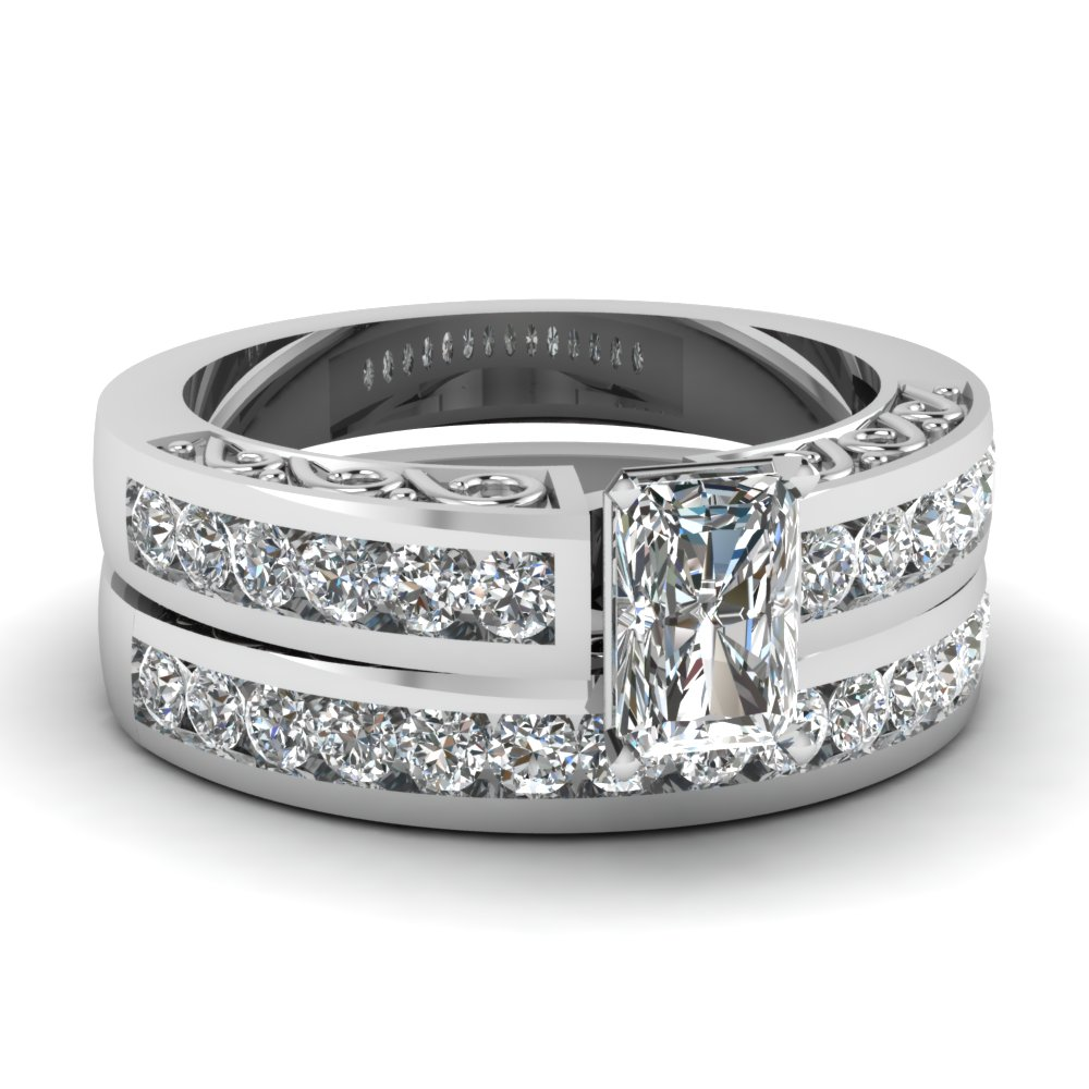Channel Set Shank Diamond Wedding Ring Sets
