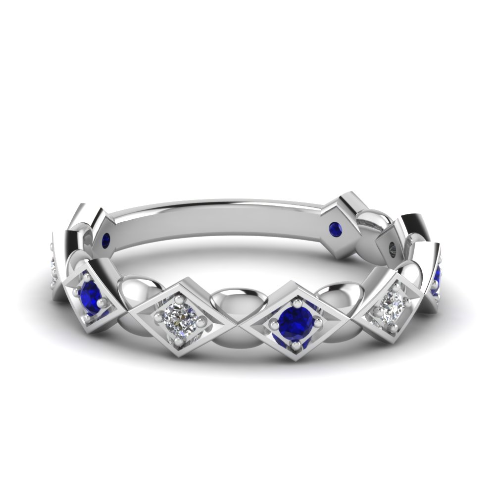 Pave Set Sapphire And Diamond White Gold Wedding Band
