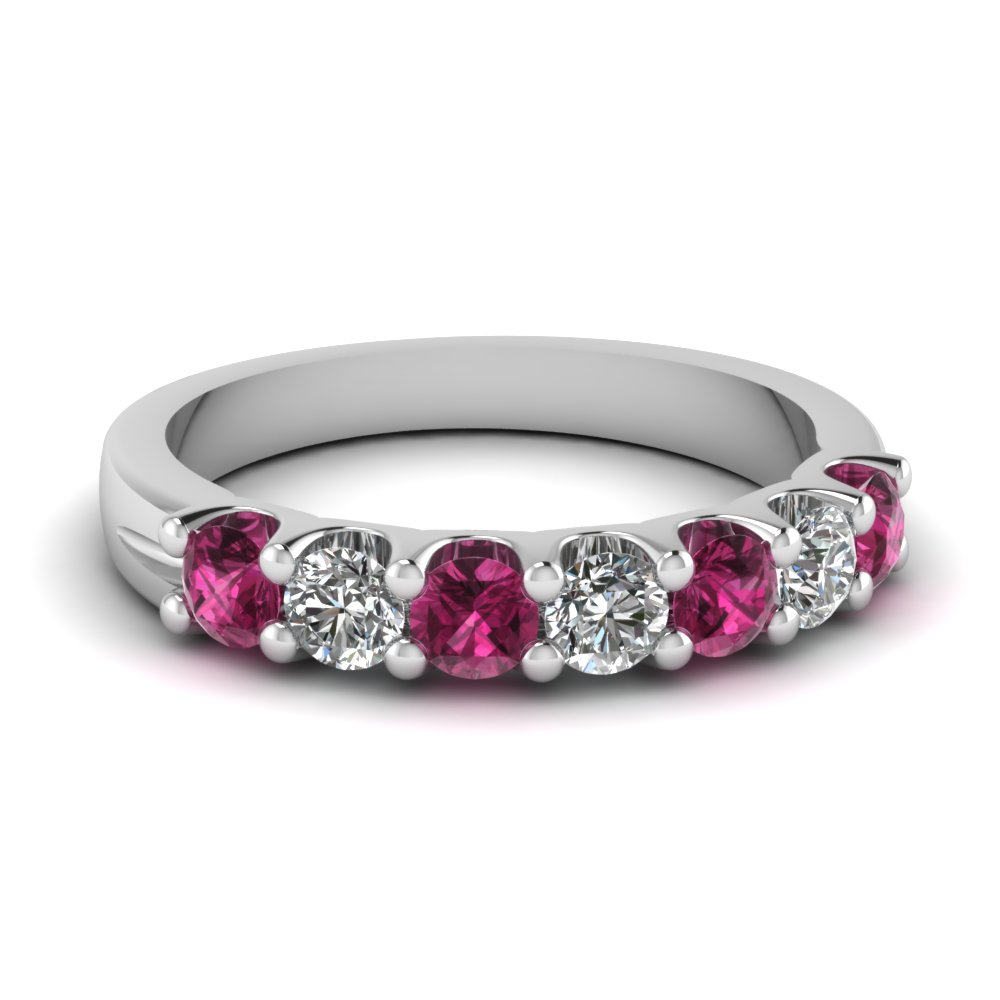 pink sapphire wedding band in sterling silver serial