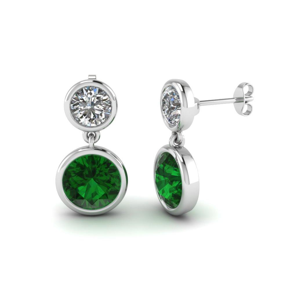 Bezel Round Diamond Drop Earring With Emerald In Fdear1082gemgr Nl Wg