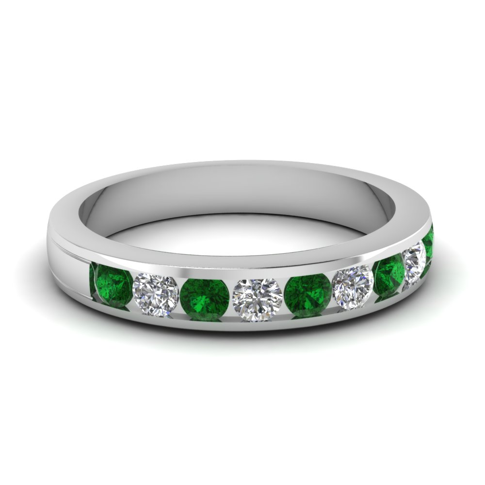Channel Set Round Cut Diamond Band For Her