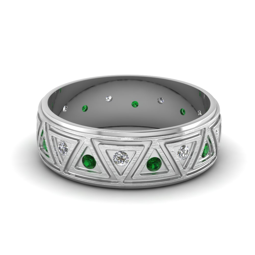 Platinum Green Emerald Men S Wedding Band Fascinating