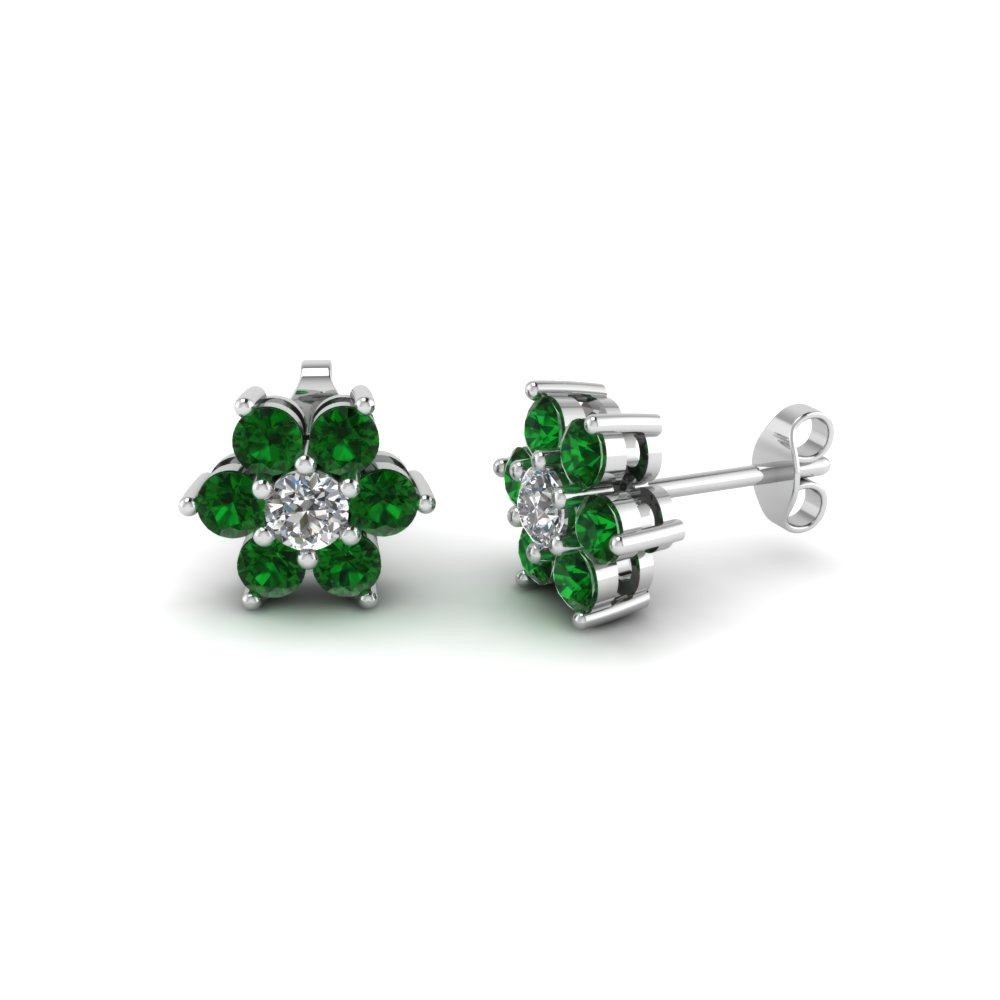 Floral Stud with Green Emerald Earring in 950 Platinum
