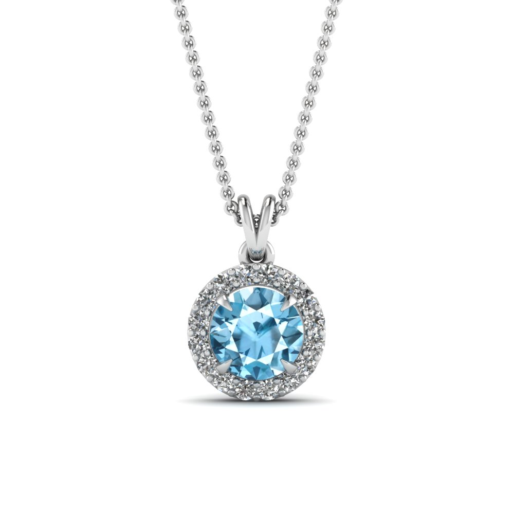Gemstone Halo Diamond Pendant Necklace