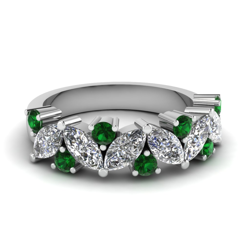 Green Emeral Pair Shaped Diamond Rings