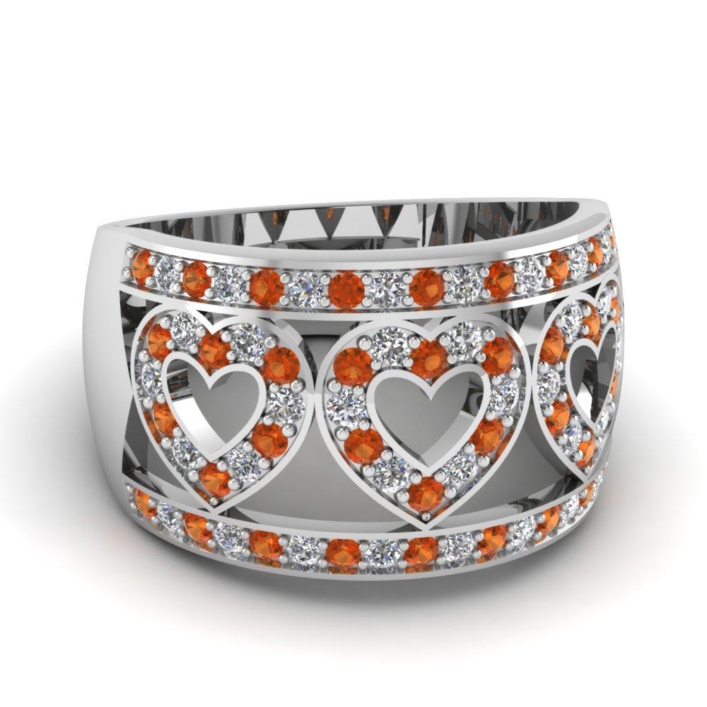 Orange Sapphire Anniversary Ring For Womens