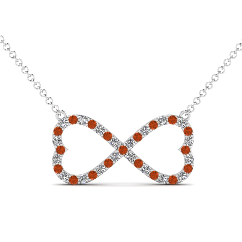 Unusual Orange Sapphire Heart Pendant Necklaces | Fascinating Diamonds