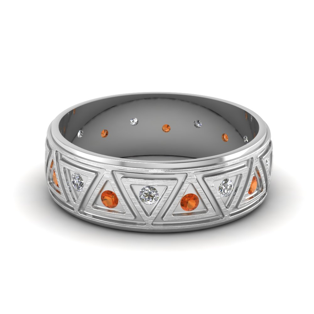 white-gold-round-orange-sapphire-mens-wedding-band-with-white-diamond-in-bezel-set-FDDB1085BGSAOR-NL-WG