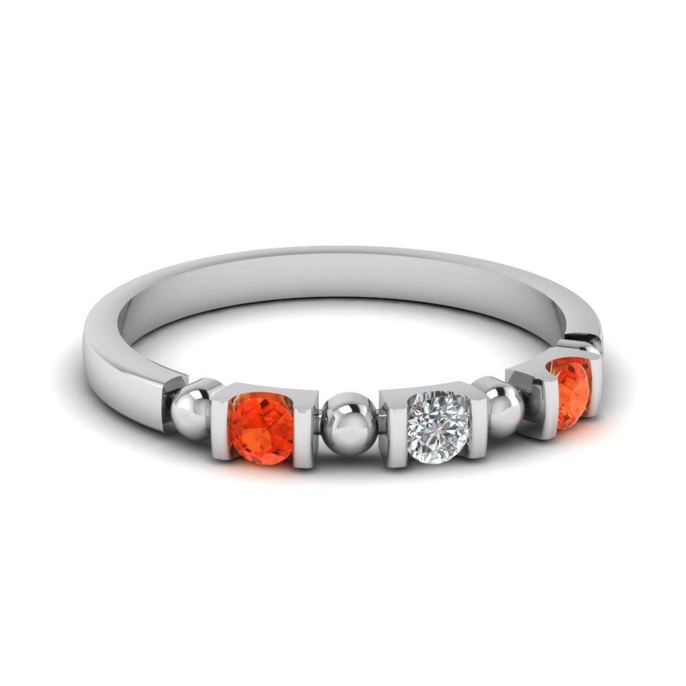 Orange topaz wedding rings
