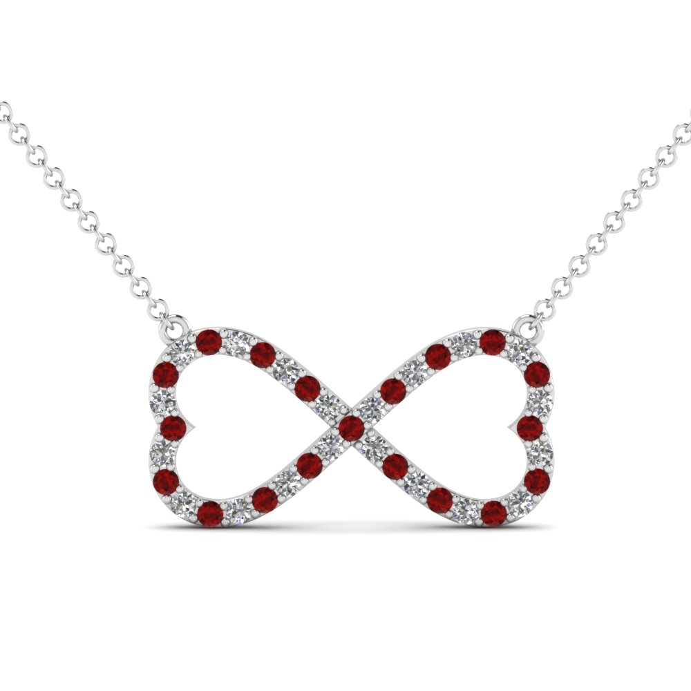 Heart infinity Diamond And Ruby Pendant