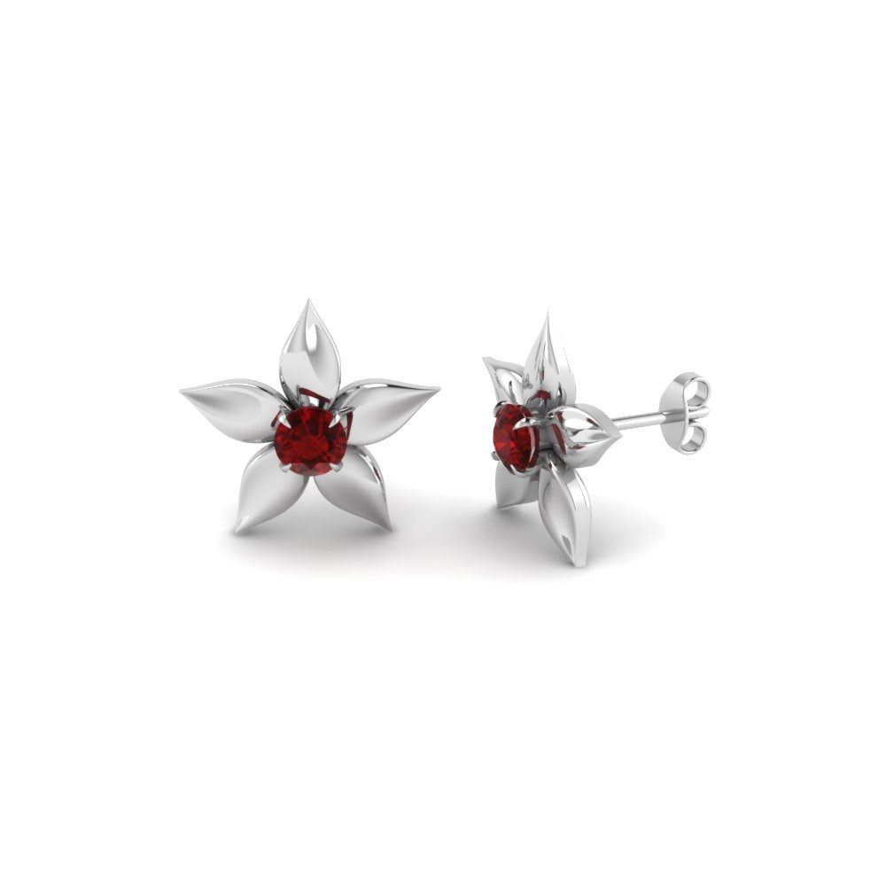 Flower Petal Ruby Stud Earring In Fdear1077grudr Nl Wg