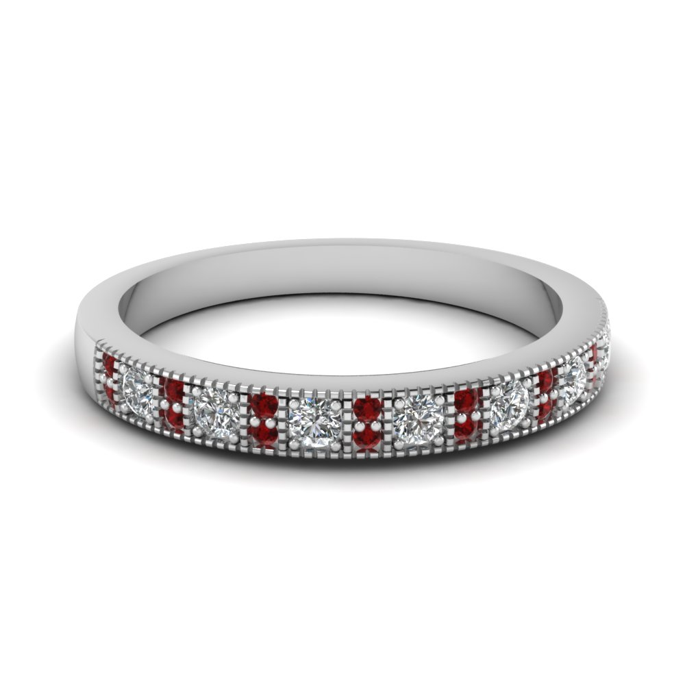 white gold round red ruby wedding band with white diamond in pave set