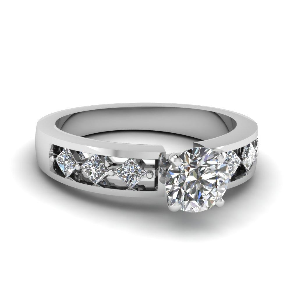 Platinum Round Diamond Ring Channel Set
