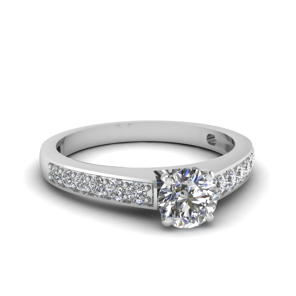 half carat pave set diamond engagement ring - Wedding Ring Cost