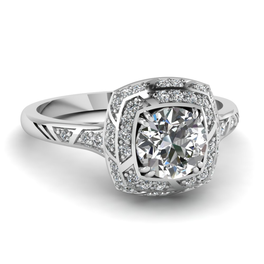 square double halo round engagement ring - Square Wedding Rings