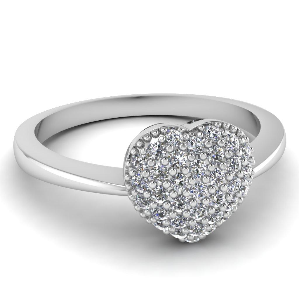 Heart shape cluster promise ring