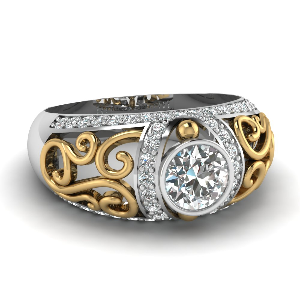 Filigree Big Round Diamond Ring