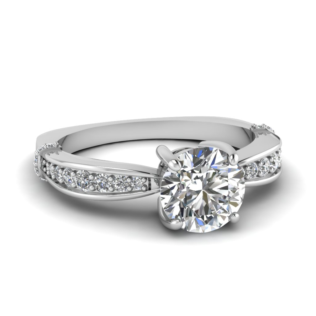 Round Diamond Pave Side Stone Proposal Ring