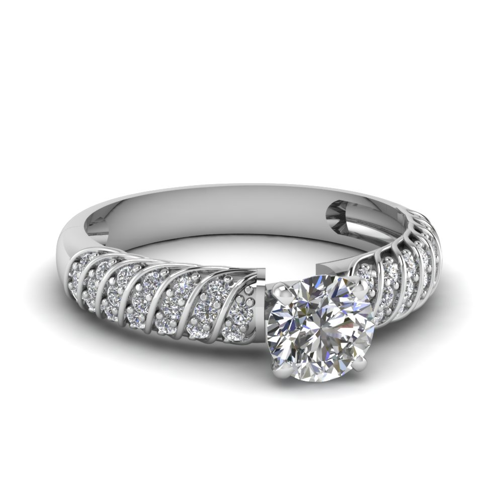 Classic Round Cut Diamond Twist Ring