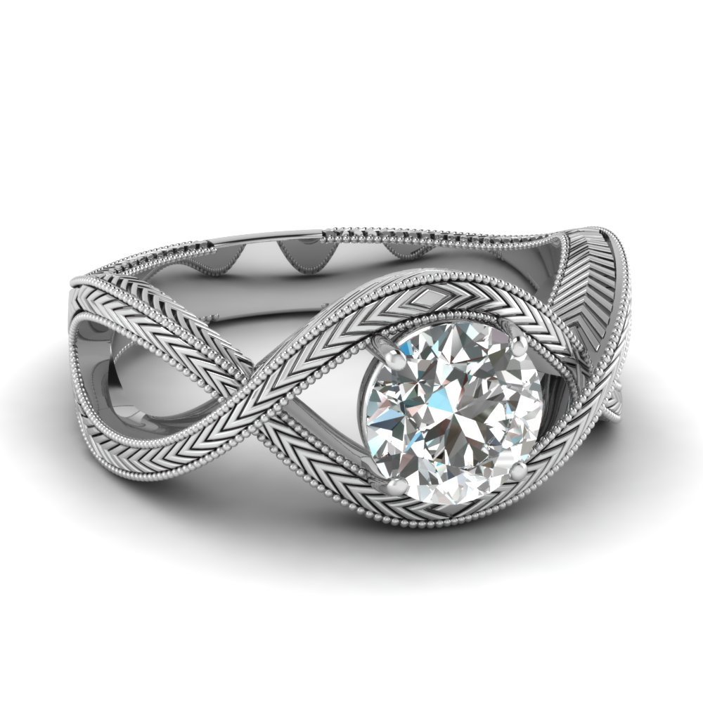 Milgrain Solitaire Interwoven Diamond Ring