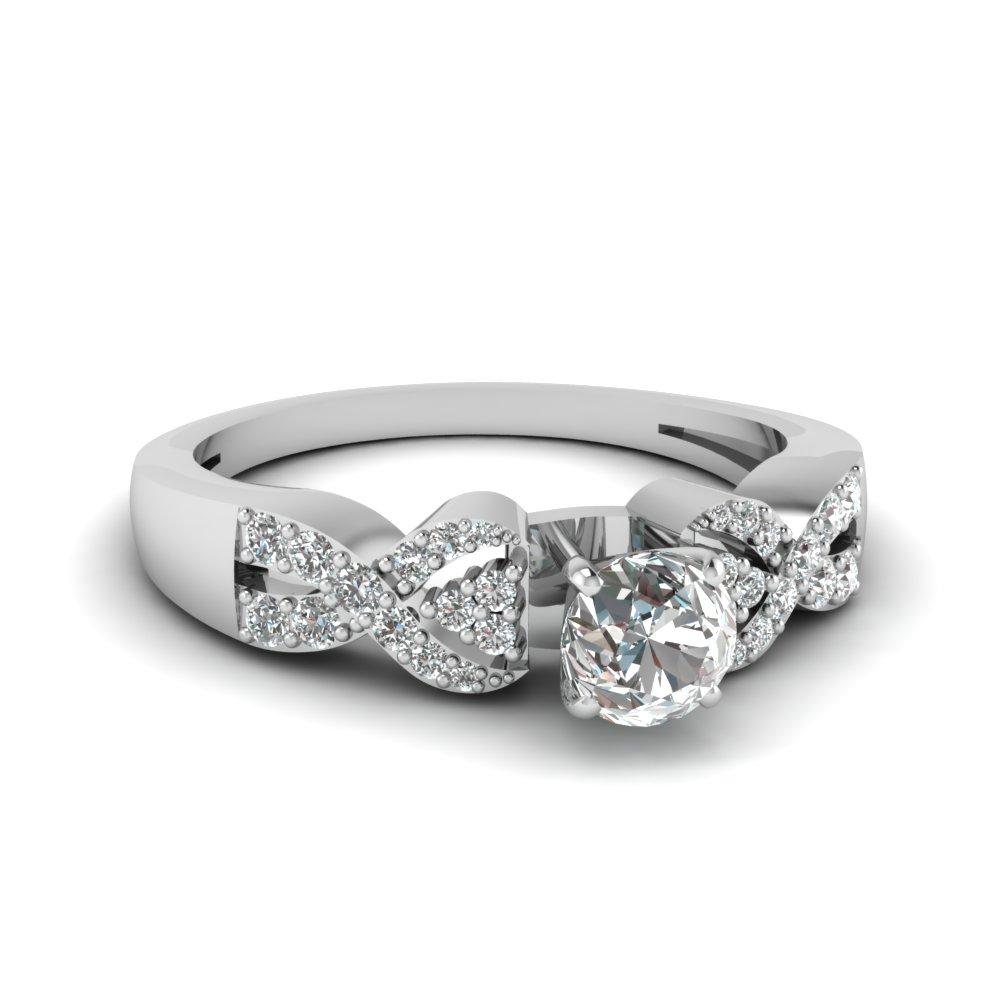 Interlocked Diamond Engagement Ring With Roud Cut Diamond
