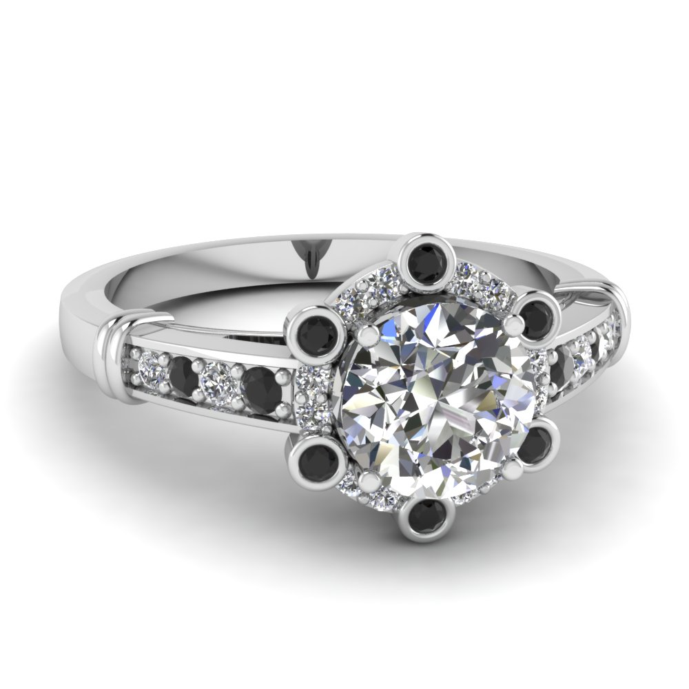 Modern Round Diamond Black and White Engagement Ring