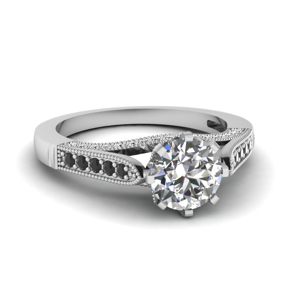 Milgrain Black Diamond Side Stone Engagement Ring