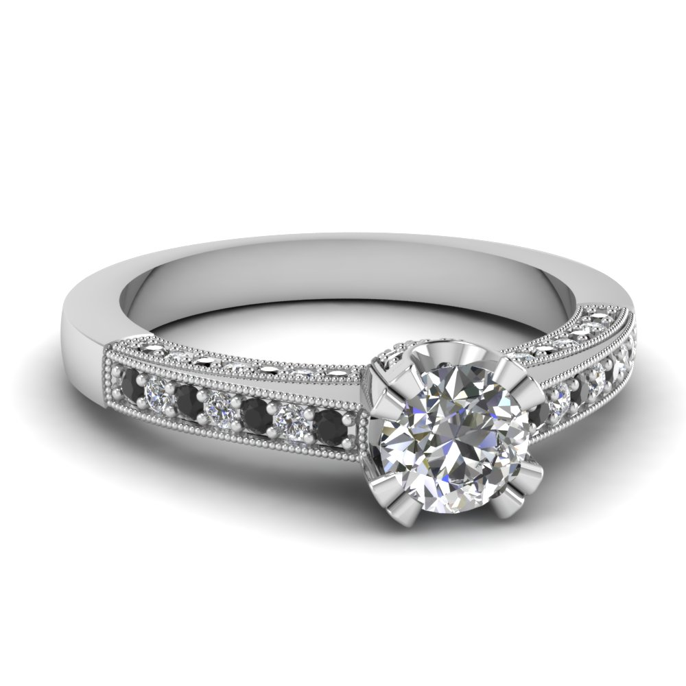 Brilliant Cut Black Diamond Milgrain Ring