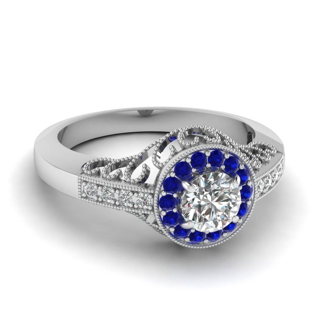 White Gold Blue Sapphire Milgrain Engagement Ring