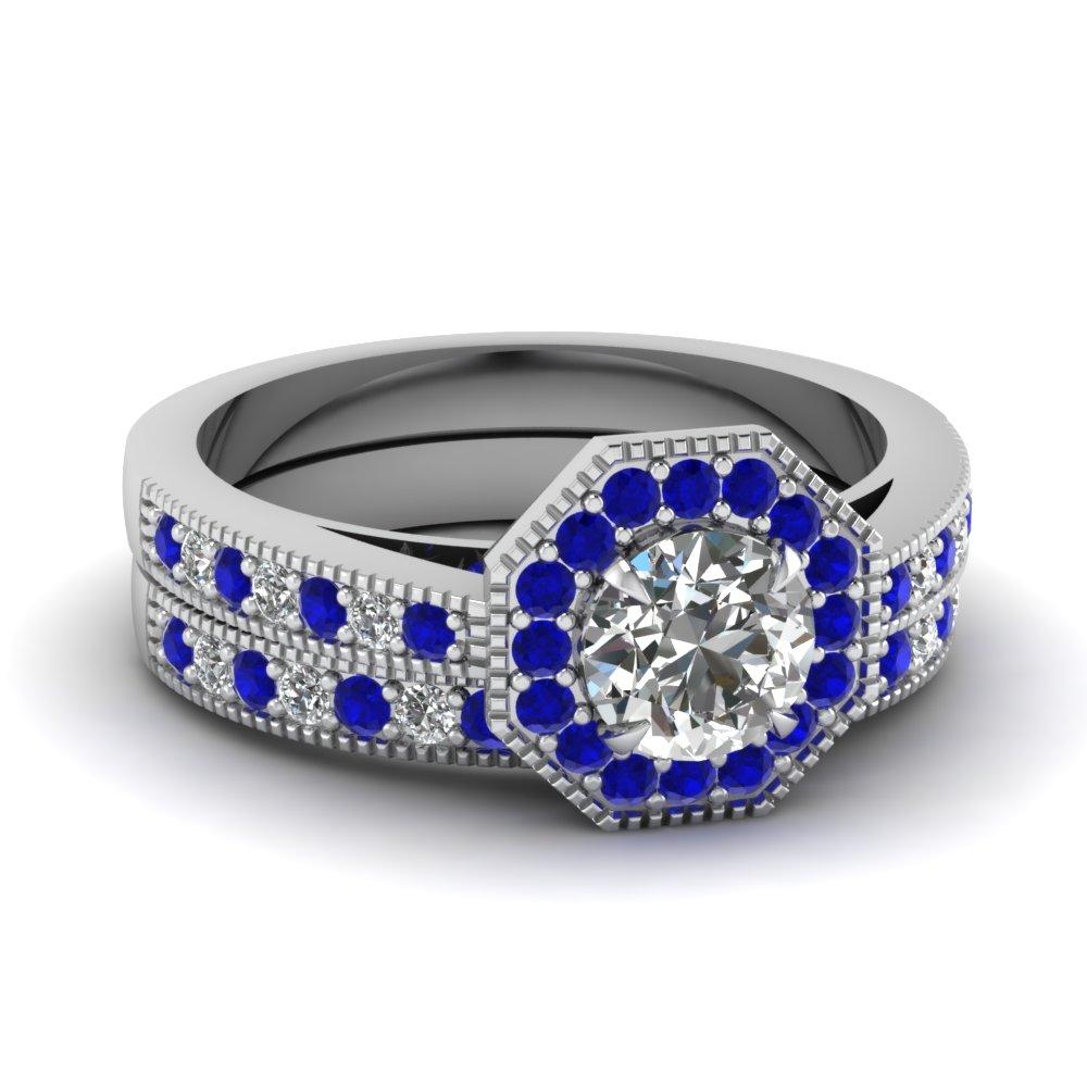Octagon Diamond Vintage Wedding Ring Set With Sapphire In 14k White