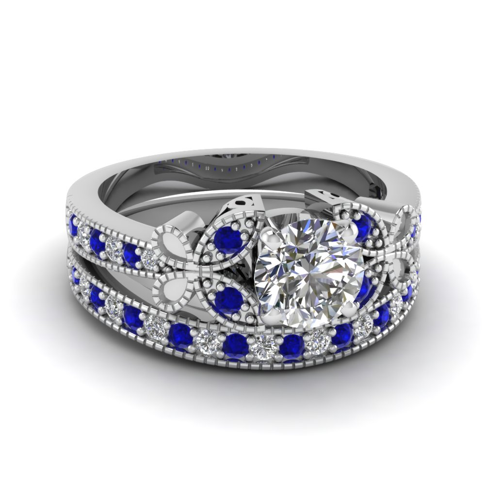 Engagement ring sets fascinating diamonds for Blue sapphire wedding ring set