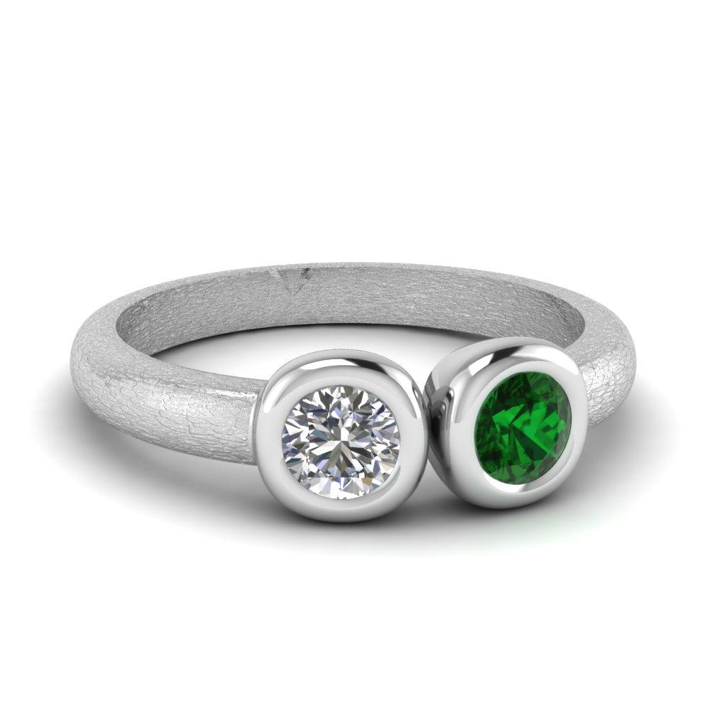 Bezel Set Emerald Side Stone Ring