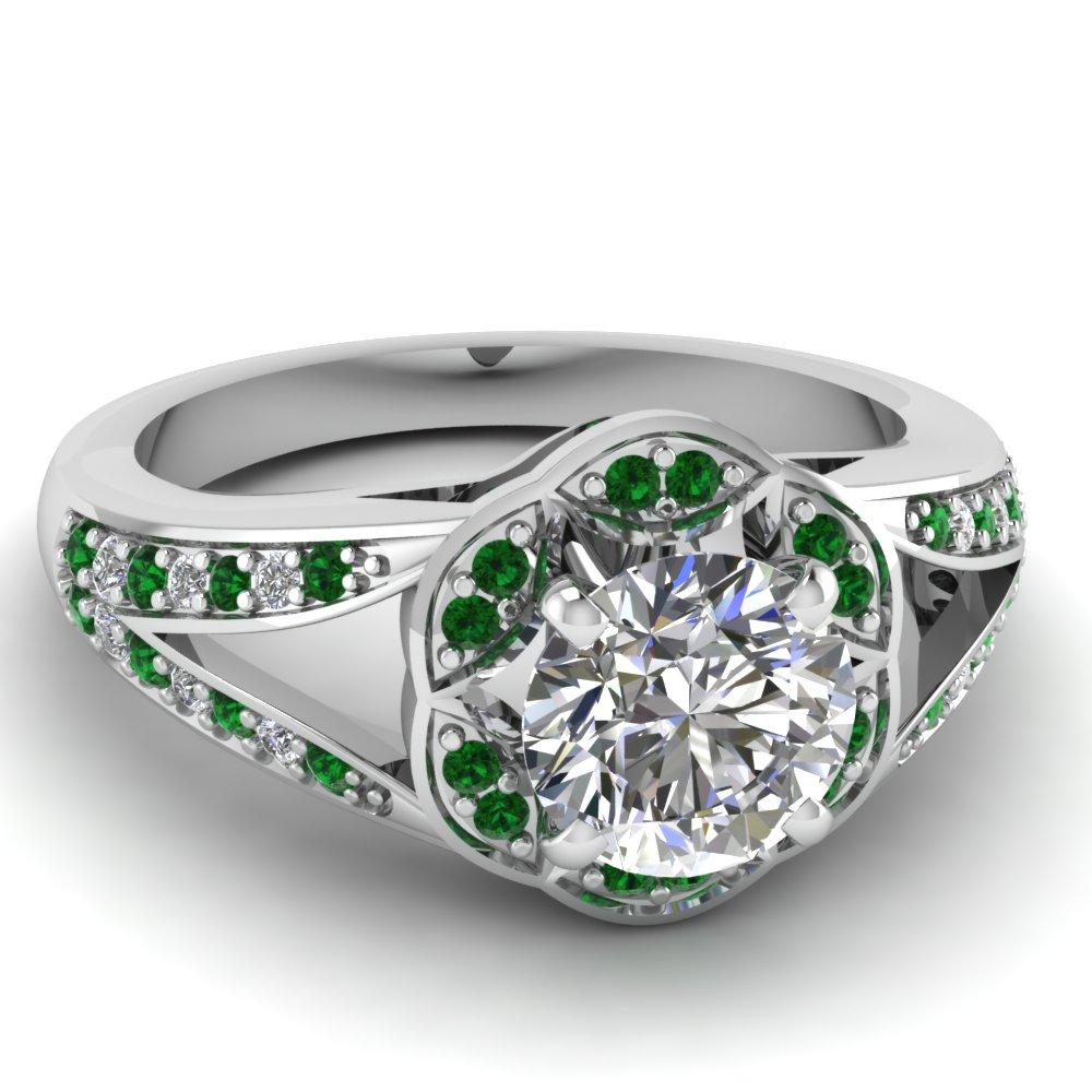 Emerald Cut Halo Patterned Split Shank Engagement Ring