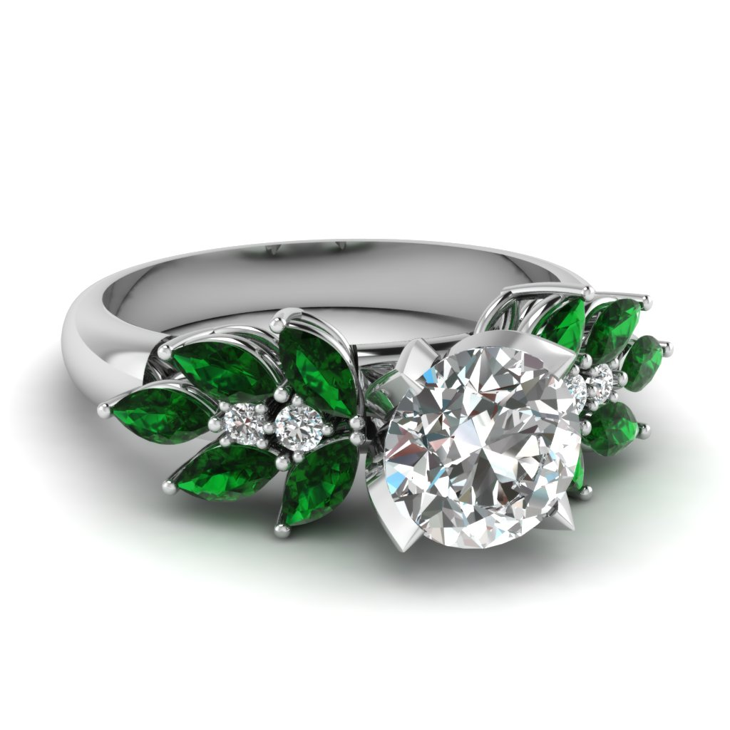 Nature inspired Accented Engagement Ring