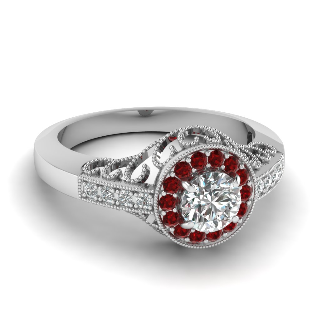 White Gold Milgrain Diamond Ring