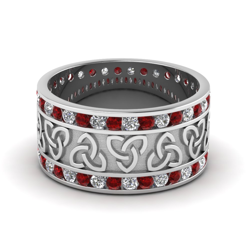 Celtric Ruby And Diamond Eternity Channel Set Mens Ring