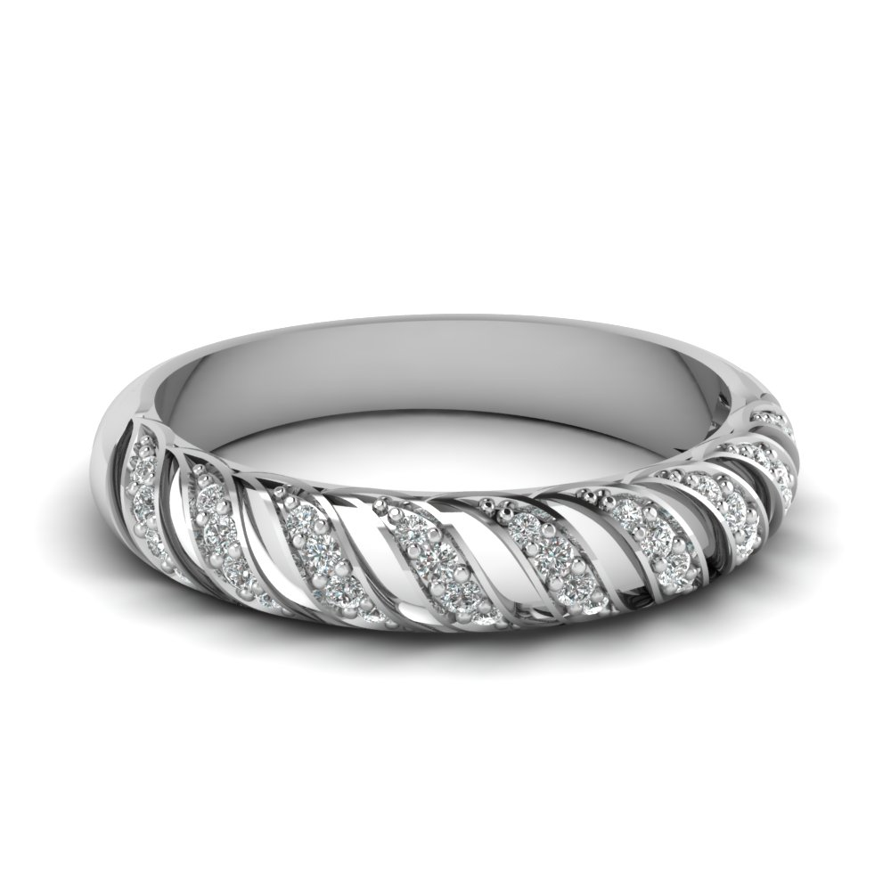 Pave Set Round Diamond White Gold Eternity Band