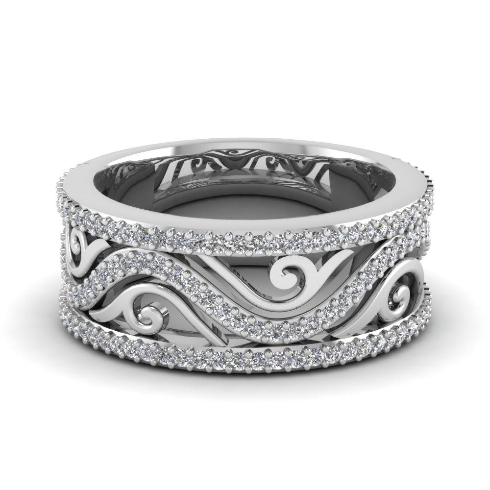Filigree Wide Diamond Wedding Band In 18k White Gold Fascinating