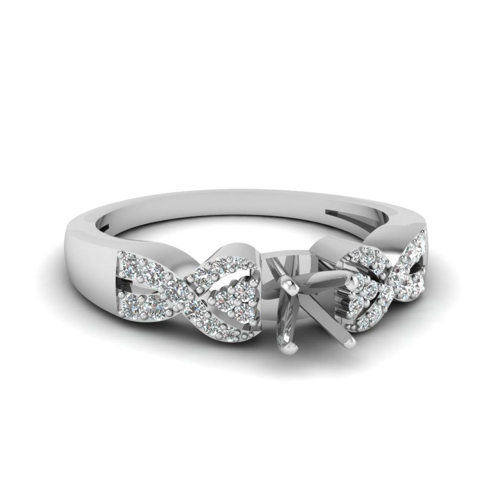 Interlocked Side Stone Ring Settings In White Gold