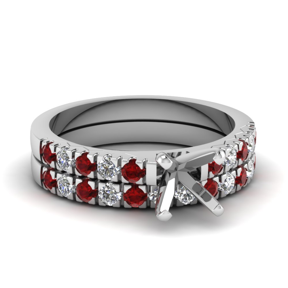French Pave Semi Mount Wedding Ring sets
