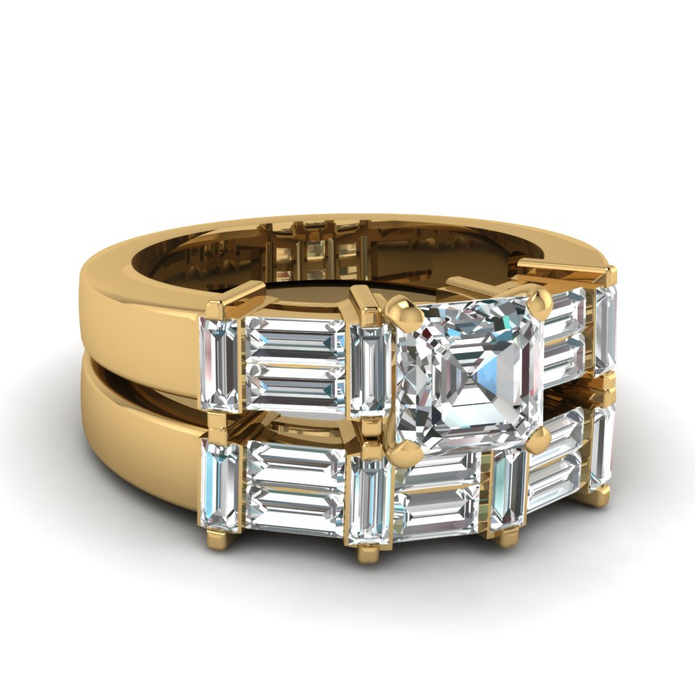 Asscher cut engagament ring with baguette accents and matching wedding band
