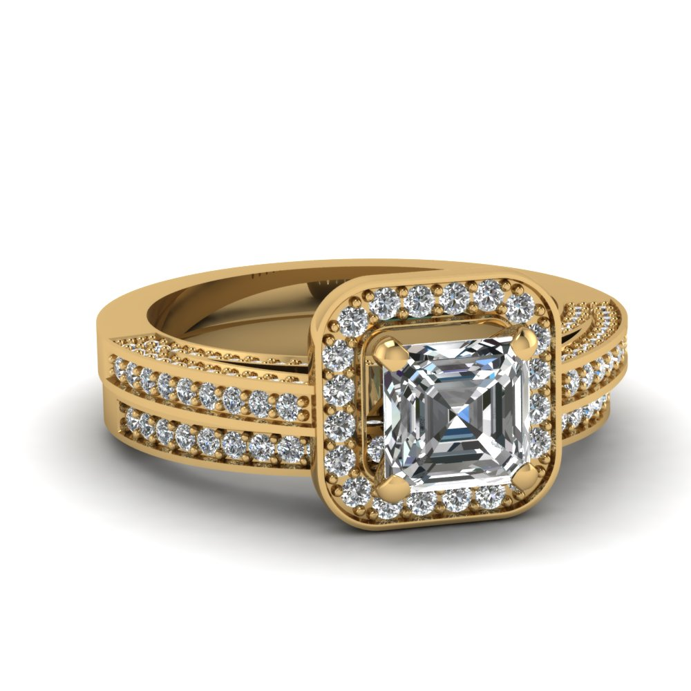 Gold square halo diamond wedding ring sets