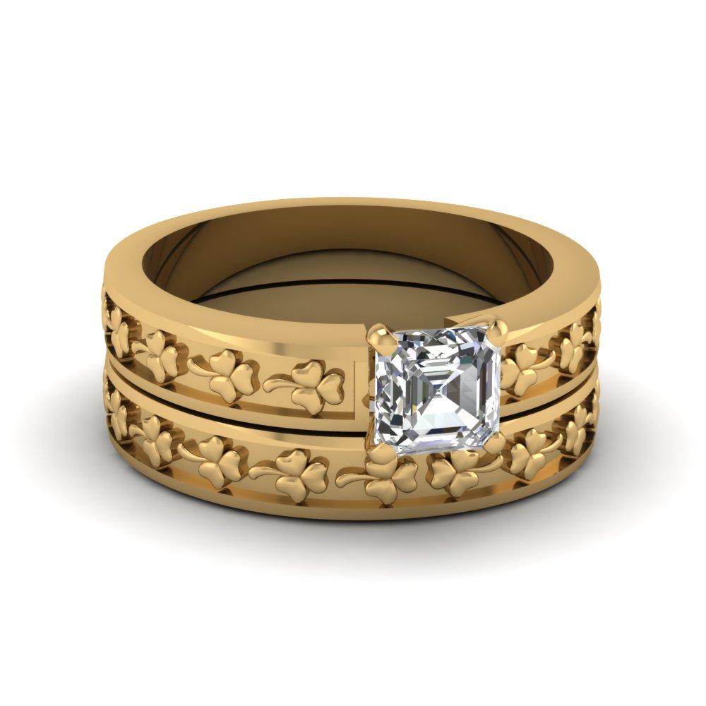 Yellow Gold Floral Engraved Asscher Cut Diamond Engagement Ring