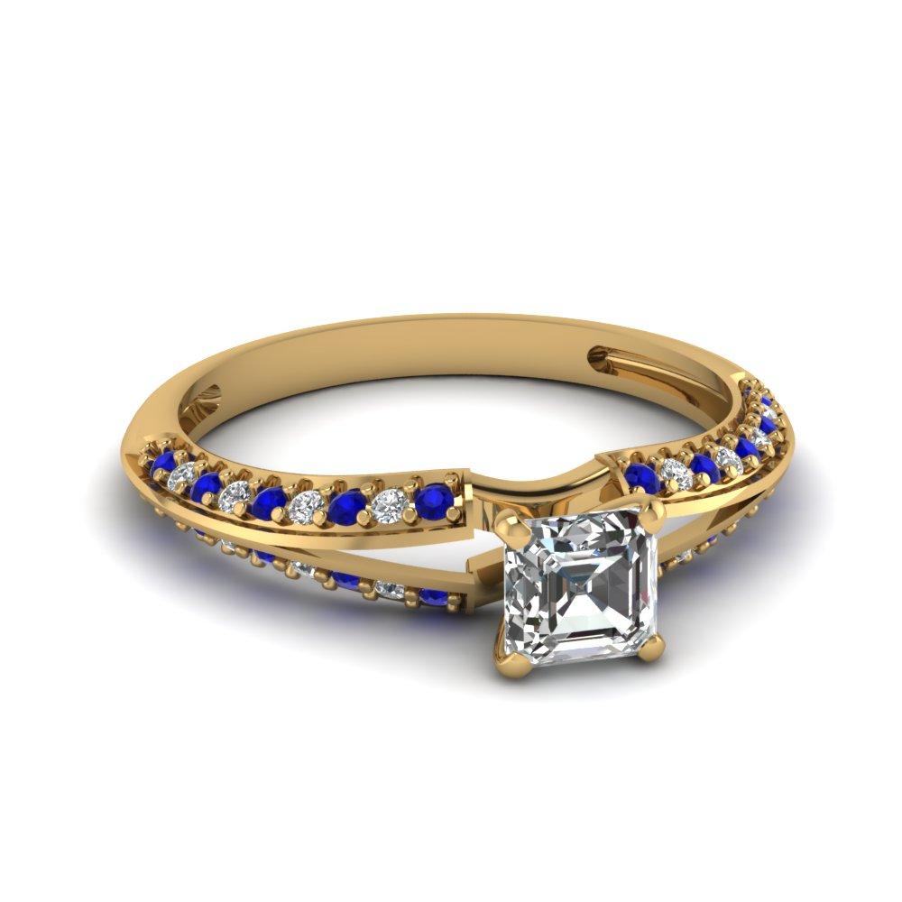 Yellow Gold Asscher Diamond And Sapphire Engagement Ring