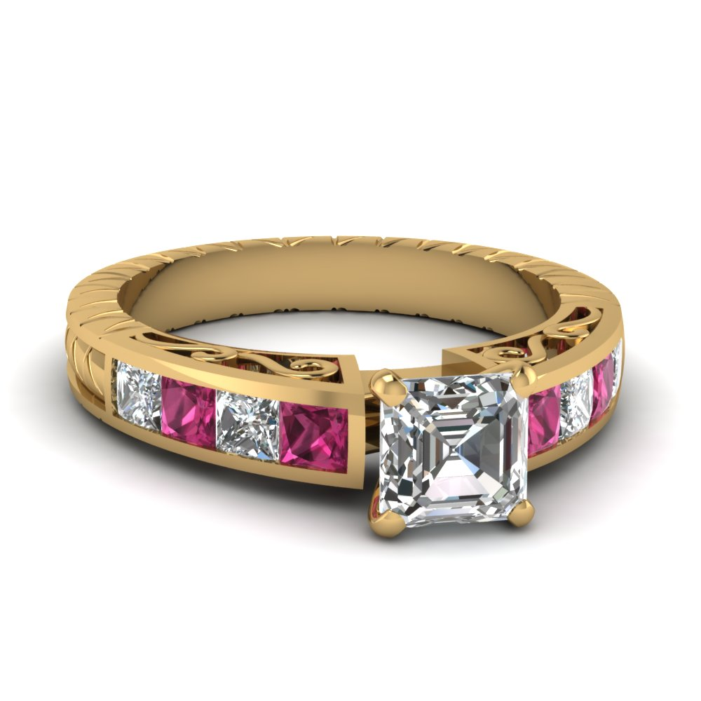 Filigree Pink Sapphire Side Stone Engagement Ring
